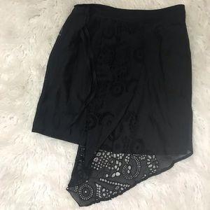 Anthropologie LEIFNOTES Asymmetrical Black Skirt